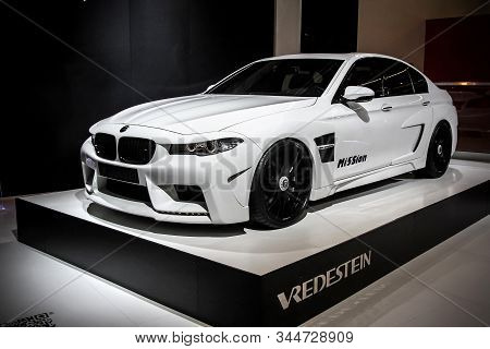 Frankfurt Am Main, Germany - September 14, 2013: White Supercar Bmw M5 (f10) Hamman Mi5sion Presente