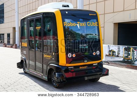 Frankfurt Am Main, Germany - September 17, 2019: Autonomous Shuttle Concept Robo-taxi Cube By Contin
