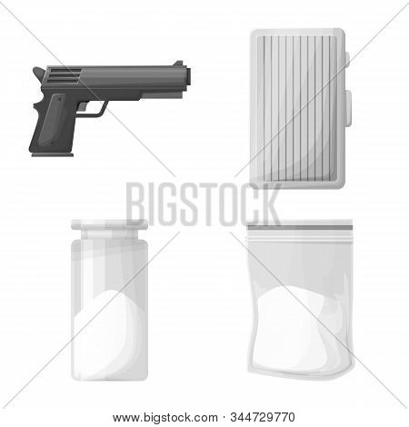 Vector Design Of Drug And Abuse Symbol. Set Of Drug And Remedy Vector Icon For Stock.