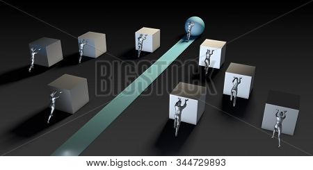 Think Outside the Box and Business Advantage Concept 3D Render