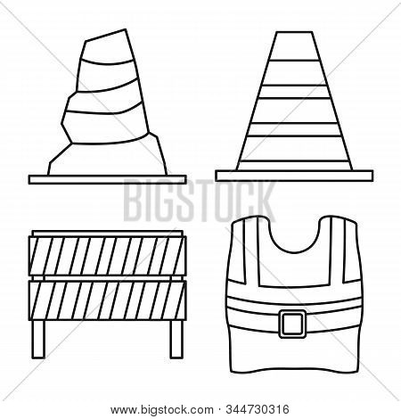 Vector Design Of Obstacle And Transportation Logo. Set Of Obstacle And Security Stock Vector Illustr