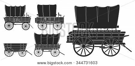 Wild West Wagon Isolated Black Icon.vector Illustration Set Western Of Old Carriage On White Backgro