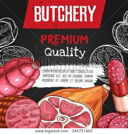 Farm Meat, Sausages And Gourmet Food Vector Sketch. Butcher Shop Pork Bacon, Salami And Cervelat Sau