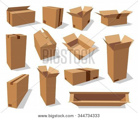 Cardboard Boxes, Brown Carton Paper Packages, Vector Realistic Mockup Templates. Open Empty Cardboar