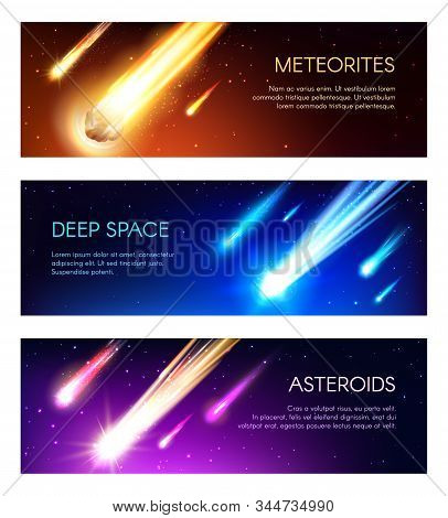 Galaxy Outer Space Banners. Vector Meteors, Meteorites And Asteroids Fall. Space Universe, Meteors A