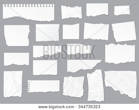 Torn Paper Notes, Vector Copybook Page Sheets, Realistic Empty Piece Of Paper. Notebook Or Copybook