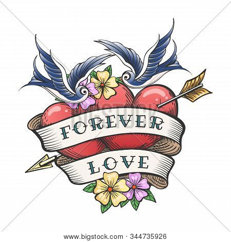 Two Hearts Pierced By Arrow With Hand Made Lettering Together Forever. Tattoo Hearts With Flower And