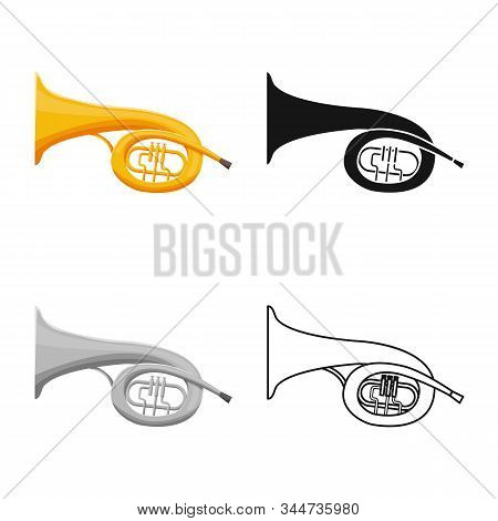 Vector Illustration Of Bugle And Trumpet Sign. Web Element Of Bugle And Wind Vector Icon For Stock.