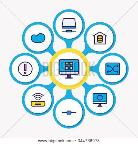 Vector Illustration Of 9 Network Icons Colored Line. Editable Set Of Root Server, Cloud Storage, Voi