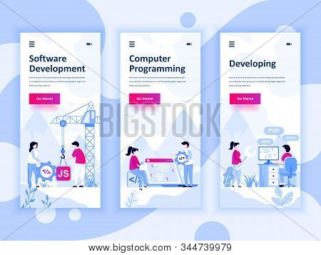 Set Of Onboarding Screens User Interface Kit For Development, Programming, Developing, Mobile App Te