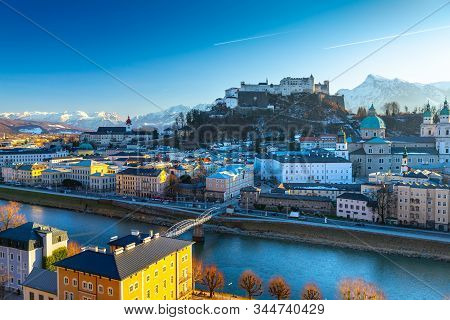 Beautiful Panoramic View Of The Historic City Of Salzburg In Winter, Austria