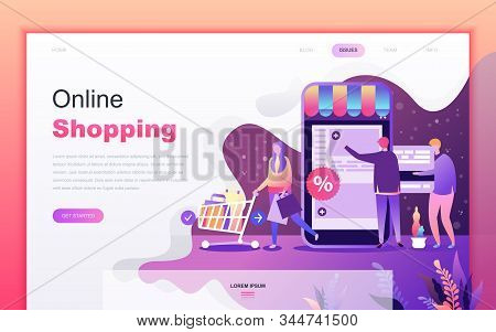 Modern Flat Cartoon Design Concept Of Shopping And E-commerce For Website And Mobile App Development