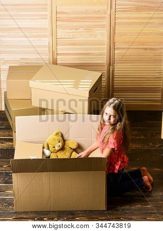 Happy Childhood. Relocating Family Stressful For Kids. Kid Girl Relocating Boxes Background. Relocat