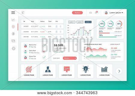Dashboard Admin Panel Vector Design Template With Infographic Elements, Chart, Diagram, Info Graphic