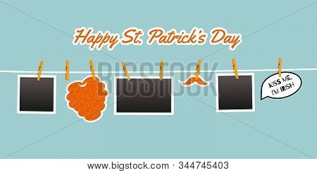 Photo Hanging On The Rope Pinned With Clothespins. Stickers For St. Patrick Day. Cute Symbols: Red B