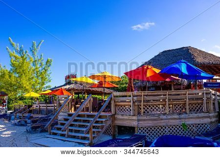 Half Moon Cay, Bahamas - December 02, 2019: People At Cafe At Fort San Salvador At Half Moon Cay, Li