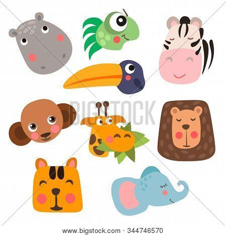 Cute Safari Animal Faces In Flat Style Isolated Vector Illustration. Decorative Safari Collection. C