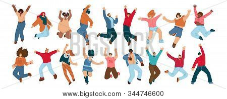 Group Of Happy People Jumping On A White Background. Young Joyful Jumping And Dancing Multiracial Pe