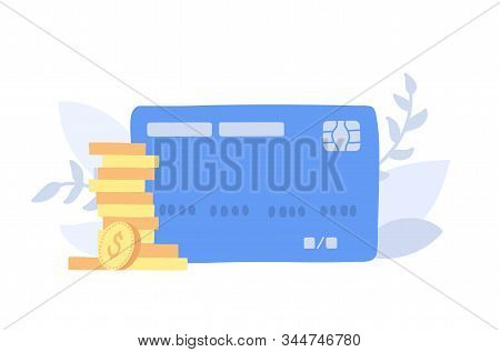 Vector Illustration Of Bank Credit Or Debit Card And Golden Coins. Coin Stacks, Money Sign. Isolated