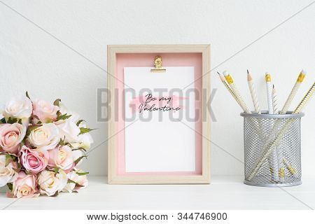 Mockup Picture Frame And Pink Roses. Valentines Day Background Concept With Copy Space. Mock Up With