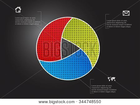 Circle Divided To Three Parts Filled By Color Patterns