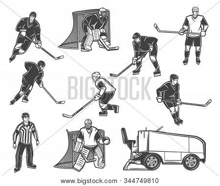 Ice Hockey Sport Vector Objects. Players And Referee With Pucks, Sticks And Skates, Goalies, Gates A