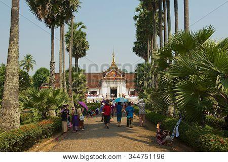 Luang Prabang, Laos - April 13, 2012: People Visit Royal Palace In Luang Prabang, Laos.