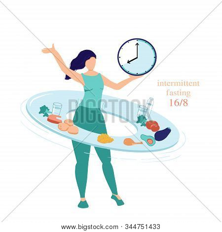 Intermittent Fasting Concept 16 8. The Woman Twists A Hoop - Plate With Food And Drinks Symbolizing