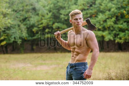 Doing His Best. Man Strong Body. Muscular Man With Axe. Sexy Macho Bare Torso Ax. Brutal And Attract
