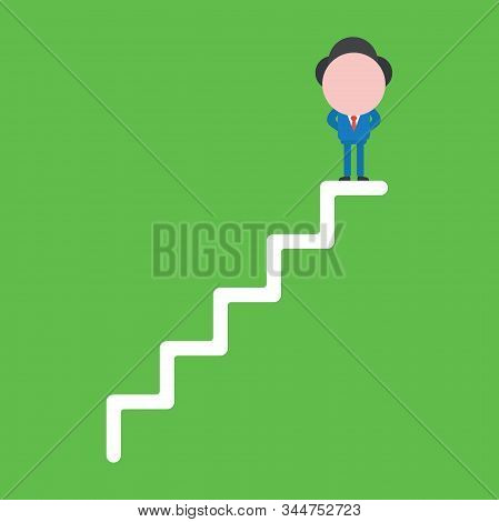 Vector Illustration Of Faceless Businessman Character Standing On Top Of Stairs On Green Background.