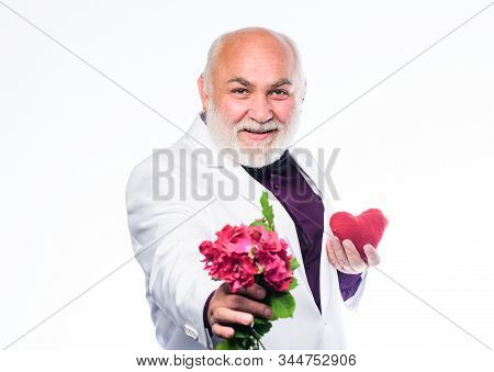 Senior Gentleman Romantic Soul. Man Hold Heart Symbol Of Love. Gentleman Concept. True Gentleman. We