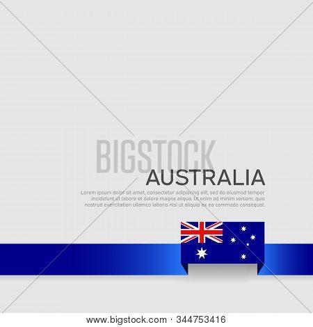 Australia Flag Background. Ribbon Color Flag Of Australia On A White Background. National Poster. Ve