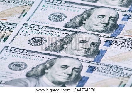 Background Of One Hundred Dollar Bills. Benjamin Franklin On Usa Money Banknote.  American Dollars B