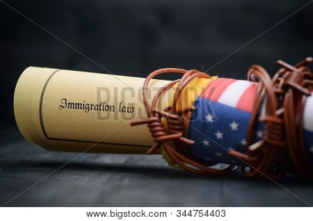 Barbed Wire , Immigration Law And Flag Of United States Of America, Immigration Concept