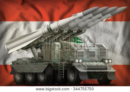 Tactical Short Range Ballistic Missile With Arctic Camouflage On The Lebanon Flag Background. 3d Ill
