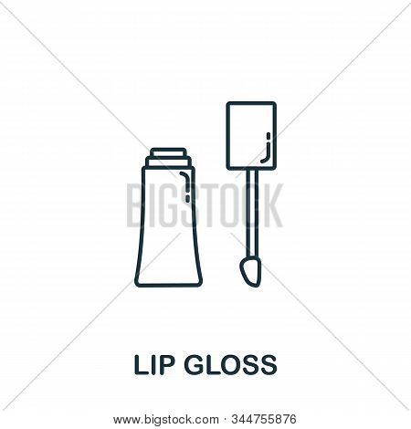 Lip Gloss Icon From Makeup And Beauty Collection. Simple Line Element Lip Gloss Symbol For Templates