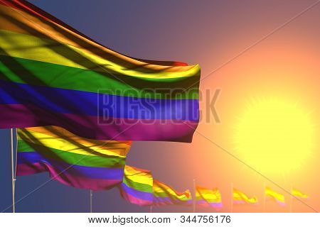 Wonderful Any Occasion Flag 3d Illustration  - Many Gay Pride Flags On Sunset Placed Diagonal With B