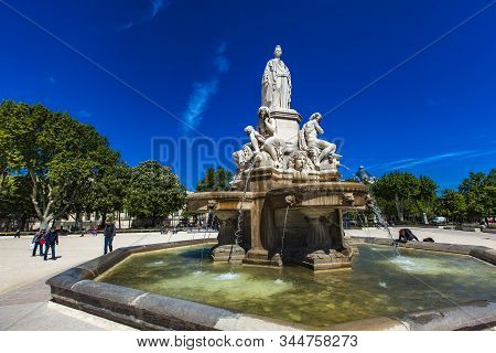 Nimes, France - April 29, 2019: Detail Of Pradier Fountain At Esplanade Charles-de-gaulle In Nimes,