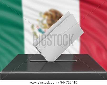 3d Illustration. Ballot Box With Mexican Flag On Background