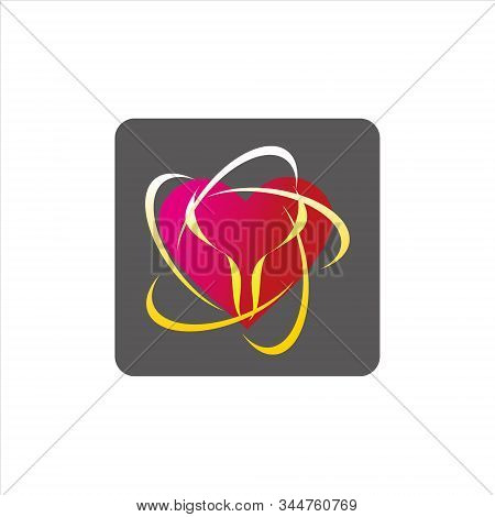 Heart Icon, Simple Icon. Heart Icon Combined With A Simple Picture. Red Heart Icon. Heart Icon And G