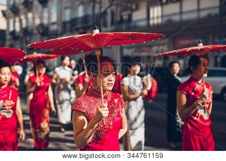 Lisboa, Portugal - February 10, 2018: Thousands Of People Took Part In The Chinese New Year Parade A
