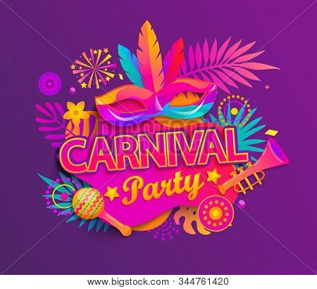 Carnival Party Invitation Card. Traditional Mask With Feathers, Maracas, Fireworks, Tropical Leaves