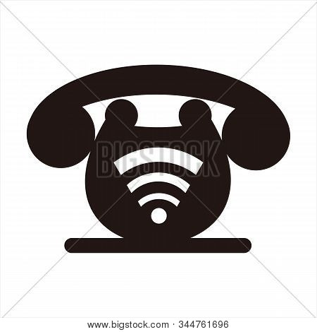 Phone Icon, A Simple Icon With A White Background. The Icon Combined With The Signal Image. Telephon