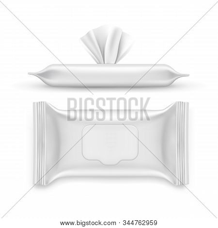 Realistic White Napkin Pack. Top And Side View On Blank Packet For Facial Wet Wipe. 3d Container For