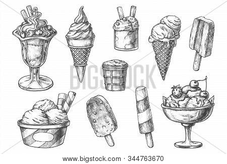 Set Of Isolated Ice Cream Sketch. Hand Drawn Sweets. Ice-cream In Cone Waffle, Confectionery With Ch