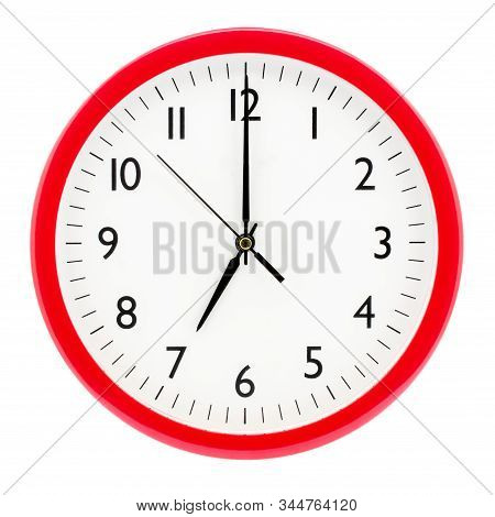 Clock With Red Round Frame On White Isolated Background Shows 7(19) Hours 00 Minutes