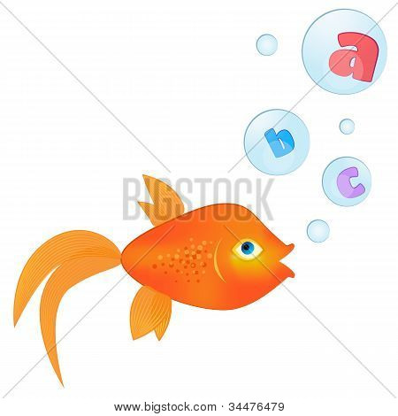 Talking Goldfish/goldfish With Letters Inside Floating Bubbles