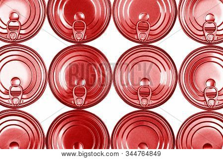 Close Up Photo Of Red Aluminium Cans In A Raw Isolated On White Background. Aluminium Can Background