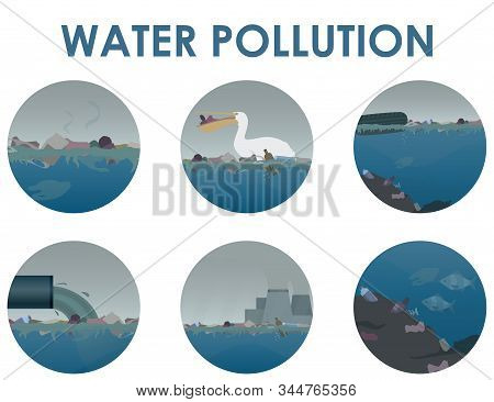 Water Pollution Round Icon Set. Stock Vector Illustration. Different Garbage And Slime In The Water,
