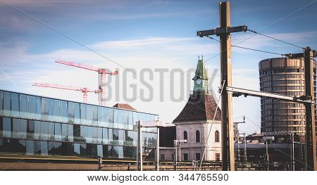 Basel, Switzerland - December 25, 2017: View Of The Basel Train Station And Its Platforms In Front O